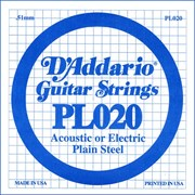 D`ADDARIO PL020 Single Plain Steel 020 одиночная струна