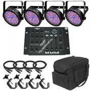 CHAUVET Slim Pack 56 комплект из 4шт. Slim Par 56, 1 пульт Obey 3, 1 сумка-CHS-SP4, 4 кабелей-DMX3P10FT