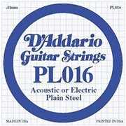 D'ADDARIO PL016 Single Plain Steel 016 одиночная струна