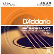 D'Addario EJ41 - струны для 12-струнной гитары, фосфор/бронза, Extra Light 9-45
