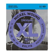 D'ADDARIO EXL115 SET ELEC GTR XL BLUES/JAZZ струны для электрогитары, никель, 11-49