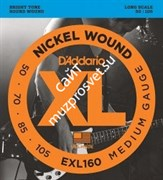 D'ADDARIO EXL160 Nickel Wound Bass, Medium, 50-105, Long Scale струны для бас-гитары, 50-105
